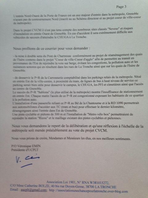 courrier de l'association envoyé aux Conseillers métropolitains avant le vote du projet CVCM