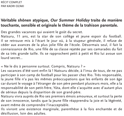 LE MANGA ONE-SHOT OUR SUMMER HOLIDAYS SORTIRA LE 7 JUIN