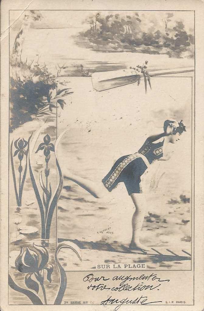"""196 - """"sur la plage"""" postée le 25.01.1920 à LAVAUR - Trouvaille du 13.11.2016 au salon de L'UNION (31)"""