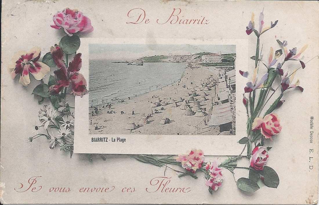 235 - DE BIARRITZ JE VOUS ENVOIE CES FLEURS - 16.08.1909 pour Argy dans l'Indre