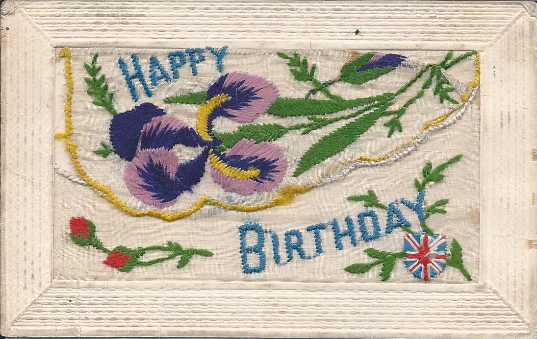 307 - CARTE POCHETTE -  HAPPY BIRTHDAY - 02.1918 6  (semblable à la carte 308 avec bouton fleuri en haut à droite)