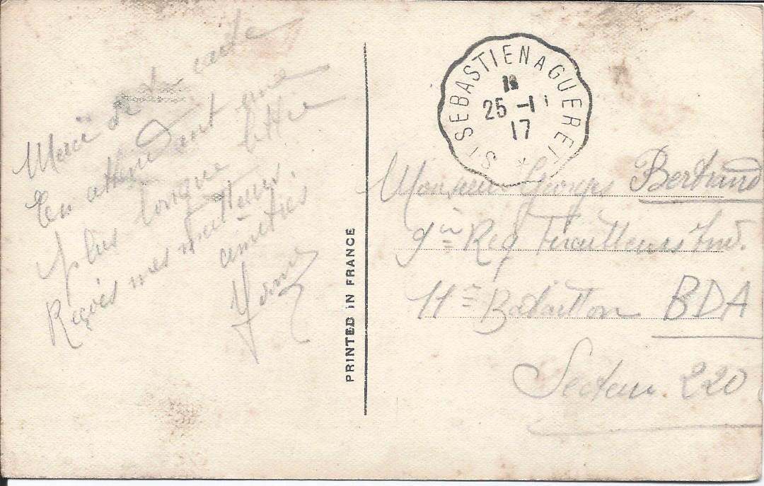 """504 - (éditions SUZY 409 ) trés belle oblitération """"TRAIN"""" st Sébastien à Guéret 25.11.1917"""