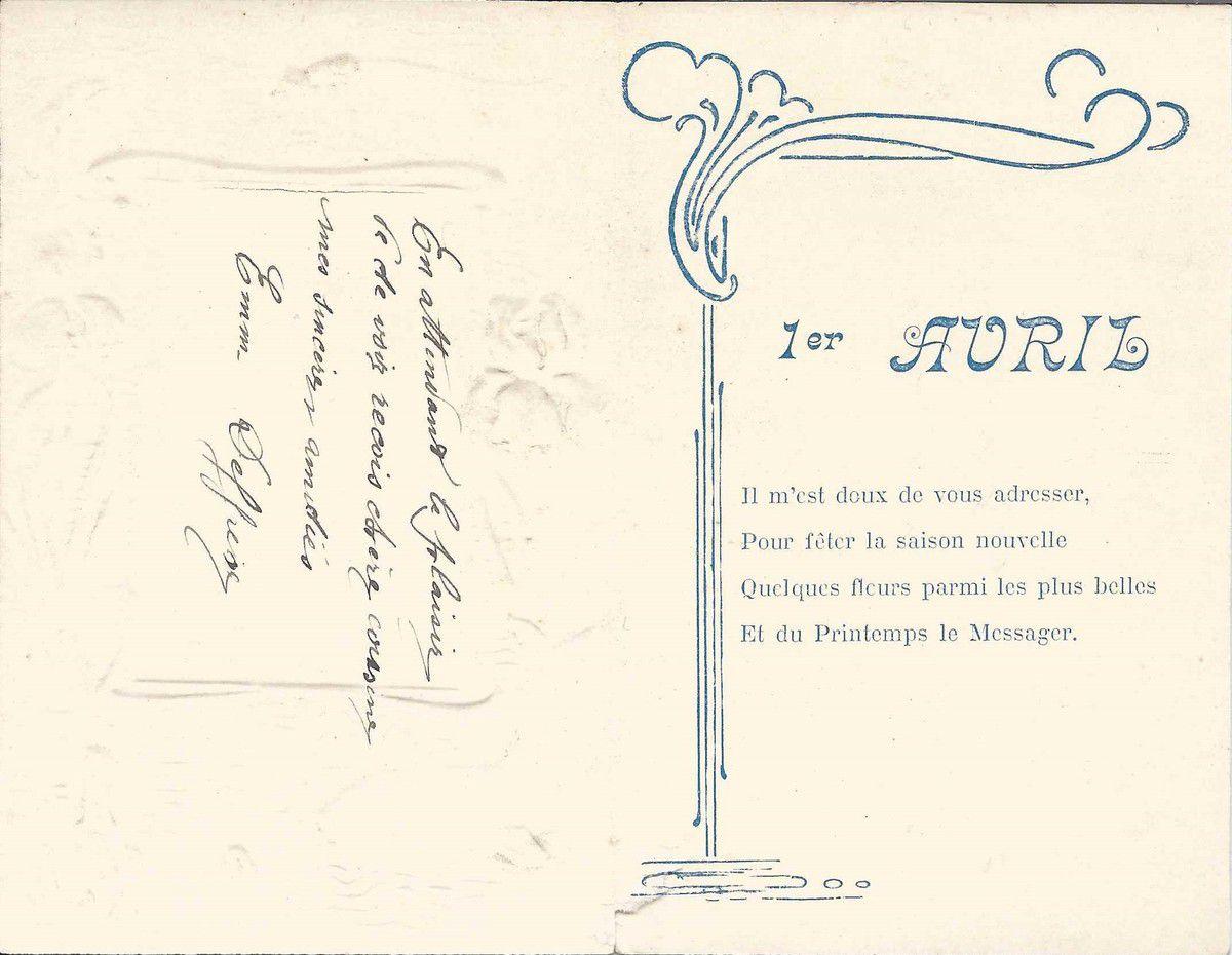 671 - 1er AVRIL  - CARTE DOUBLE - LIBELLULE ET POISSON ET ....MOUSTACHU...