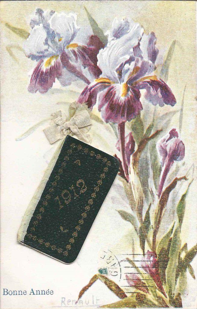 754 - illustrateur  RENAULT - BONNE ANNEE - carte avec calendrier de l'année de naissance de ma Grand-Mère maternelle.