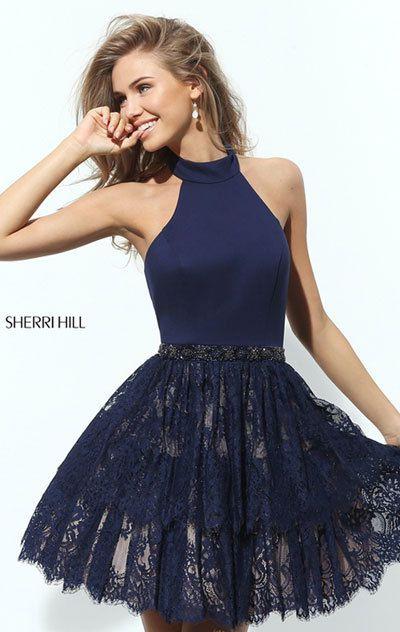 e4846f688c3 Navy For Sherri Hill 50634 Cocktail Dresses. October 31 2017. Navy Beaded  Discount Sherri Hill 50634 Neoprene Bodice Short Lace ...
