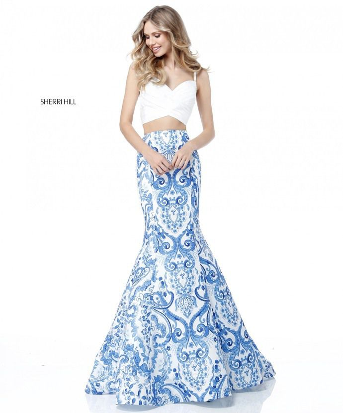 55e4c2a53fc Ivory Blue 2 Piece Sherri Hill With 51681 Printed Mermaid Gowns 2018 -  homecoming dresses shop