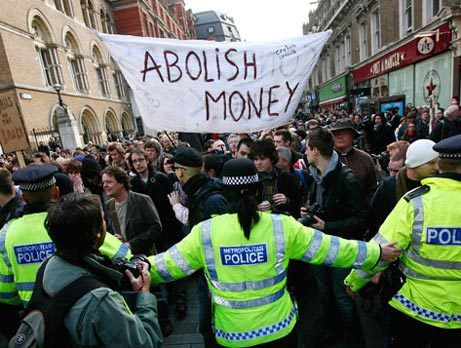 "In London staged a demonstration under a banner ""Abolish Money!"" against G8 Summit"