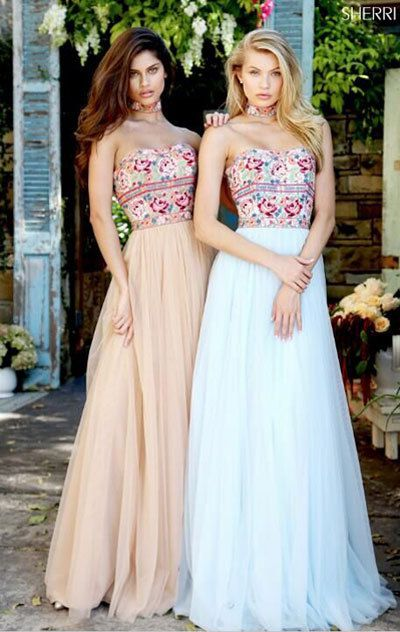 21a135fdb78 A matching choker complements the floral embroidered bodice with a straight  strapless neckline of this Sherri Hill 50873 prom dress with an ...