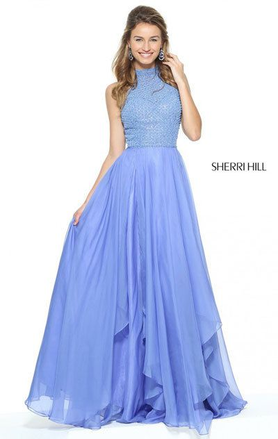 88778e52285 A gorgeous crosshatch overlays the high neck bodice of this Sherri Hill  50808 prom dress