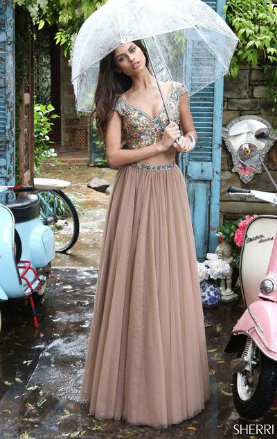 0ab0c33147 Multi-colored beading adorns the crop top with cap sleeves and a bead  trimmed V-neckline of this full-length Sherri Hill 51166 two-piece prom  dress.