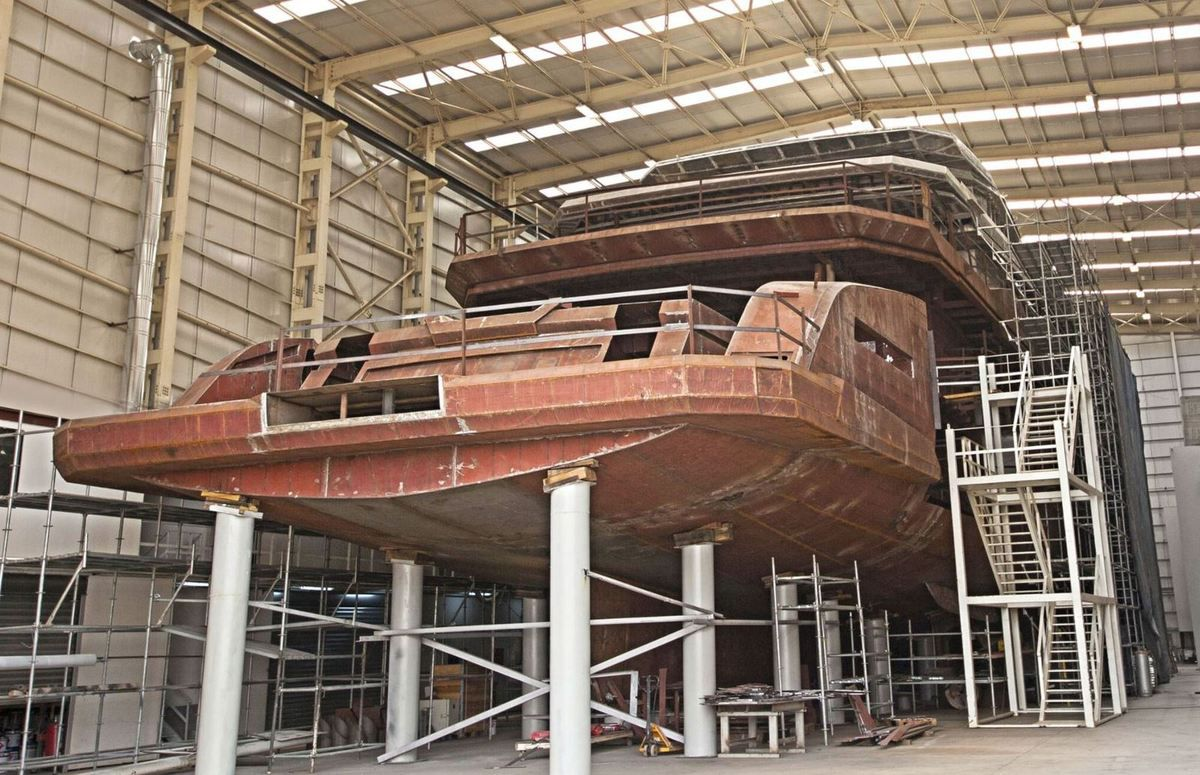 68m Ice Yachts MY Days construction proceeding on schedule at Aes Yacht Turkey 