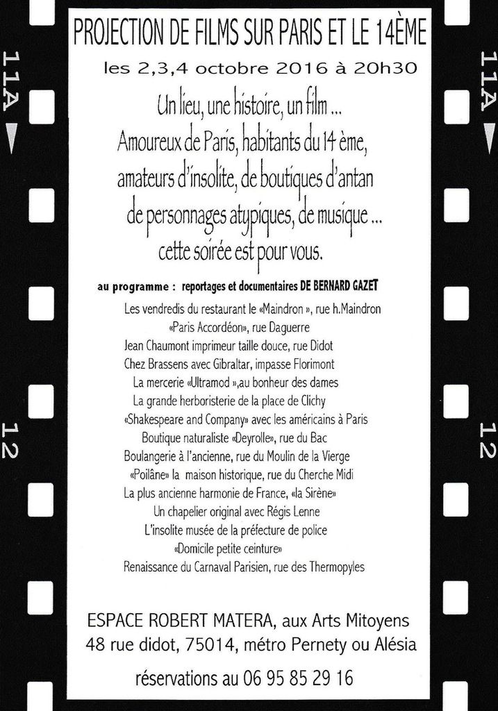 Projection de films sur Paris et le 14ème