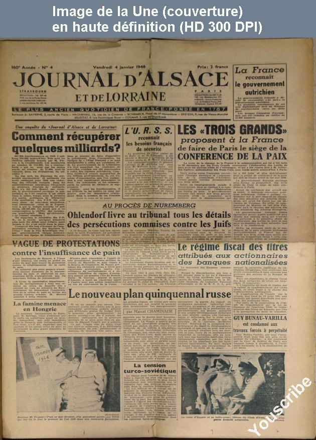 Journal d'Alsace et de Lorraine, une page de 1946