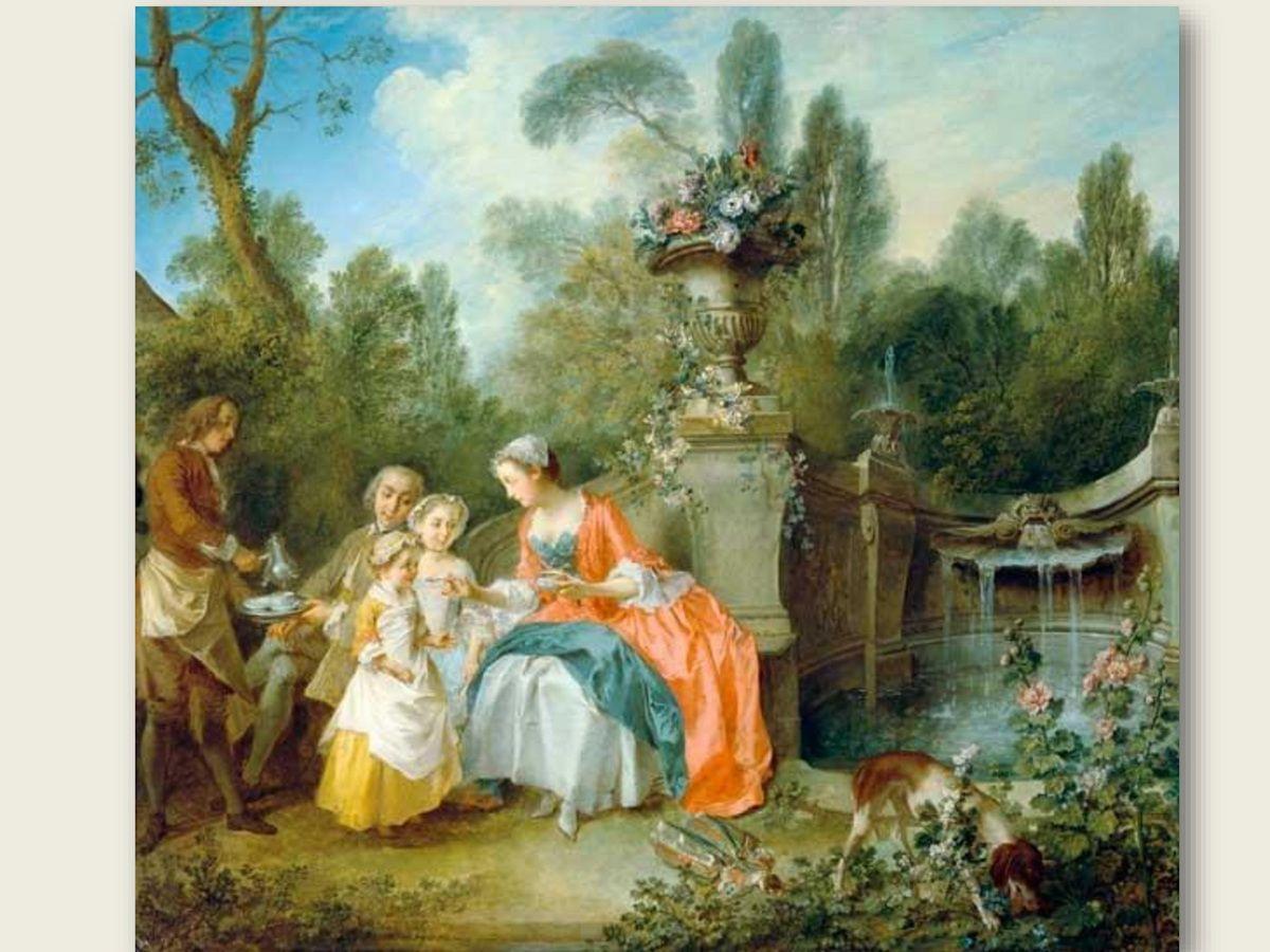 Nicolas Lancret,  Dame buvant du café dans un jardin avec des enfants.