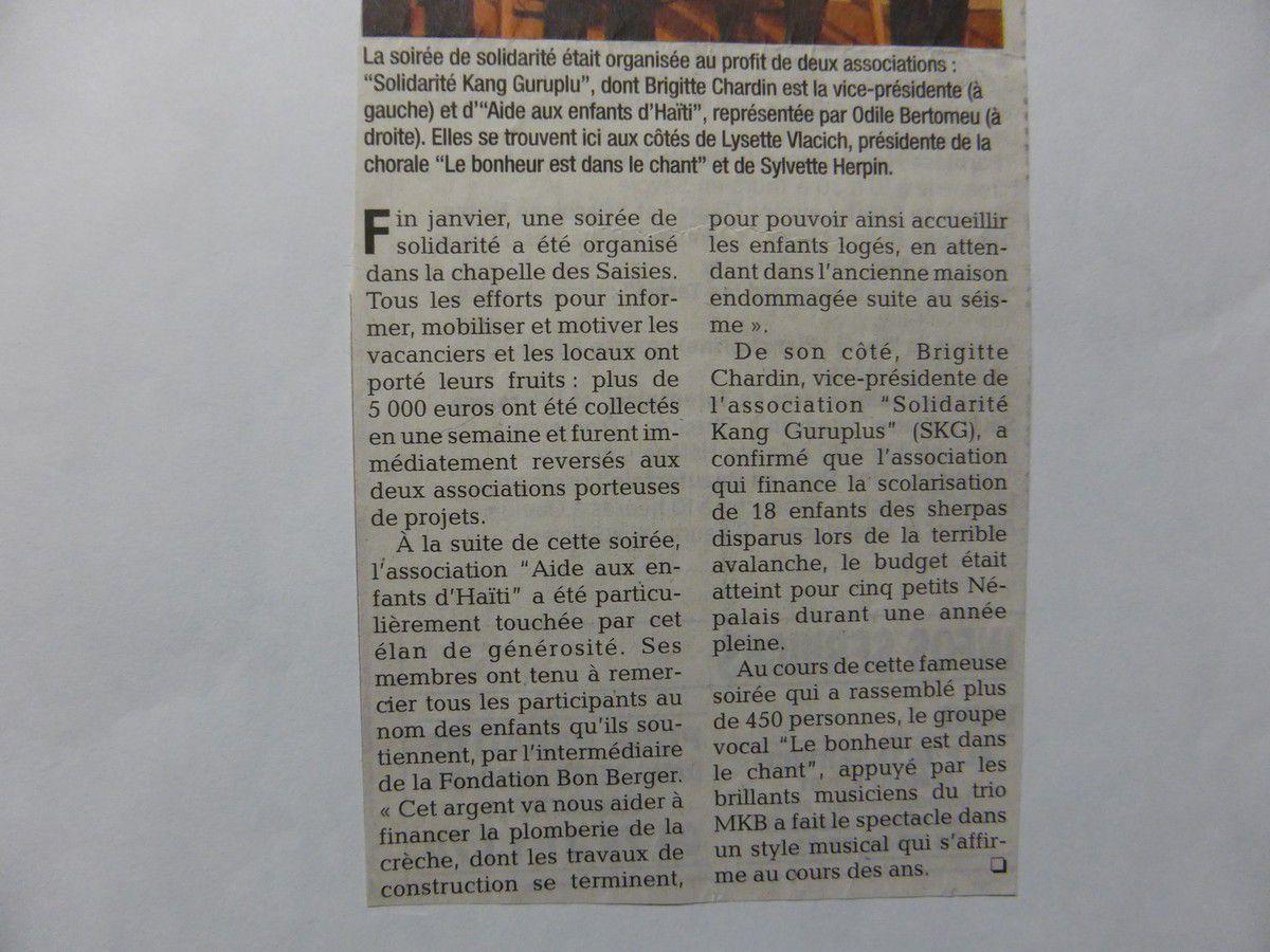 25 janvier 2012, Aux Saisies, Concert de Solidarité pour Haïti et le Népal avec MKB