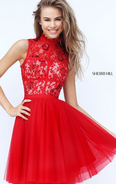 e754d680bfc 2018 Sherri Hill 50636 Red Prom Dresses - 2016 sequined homecoming ...
