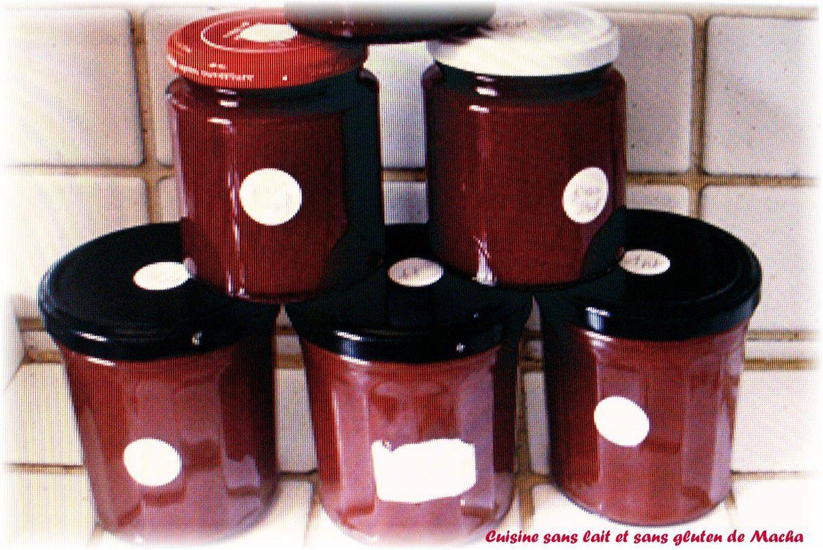 Confiture de petites prunes du jardin  allégée en sucre( 6 pots  de 250g)