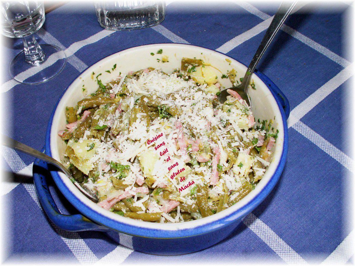 Salade de pommes de terre et haricots verts au jambon et parmesan