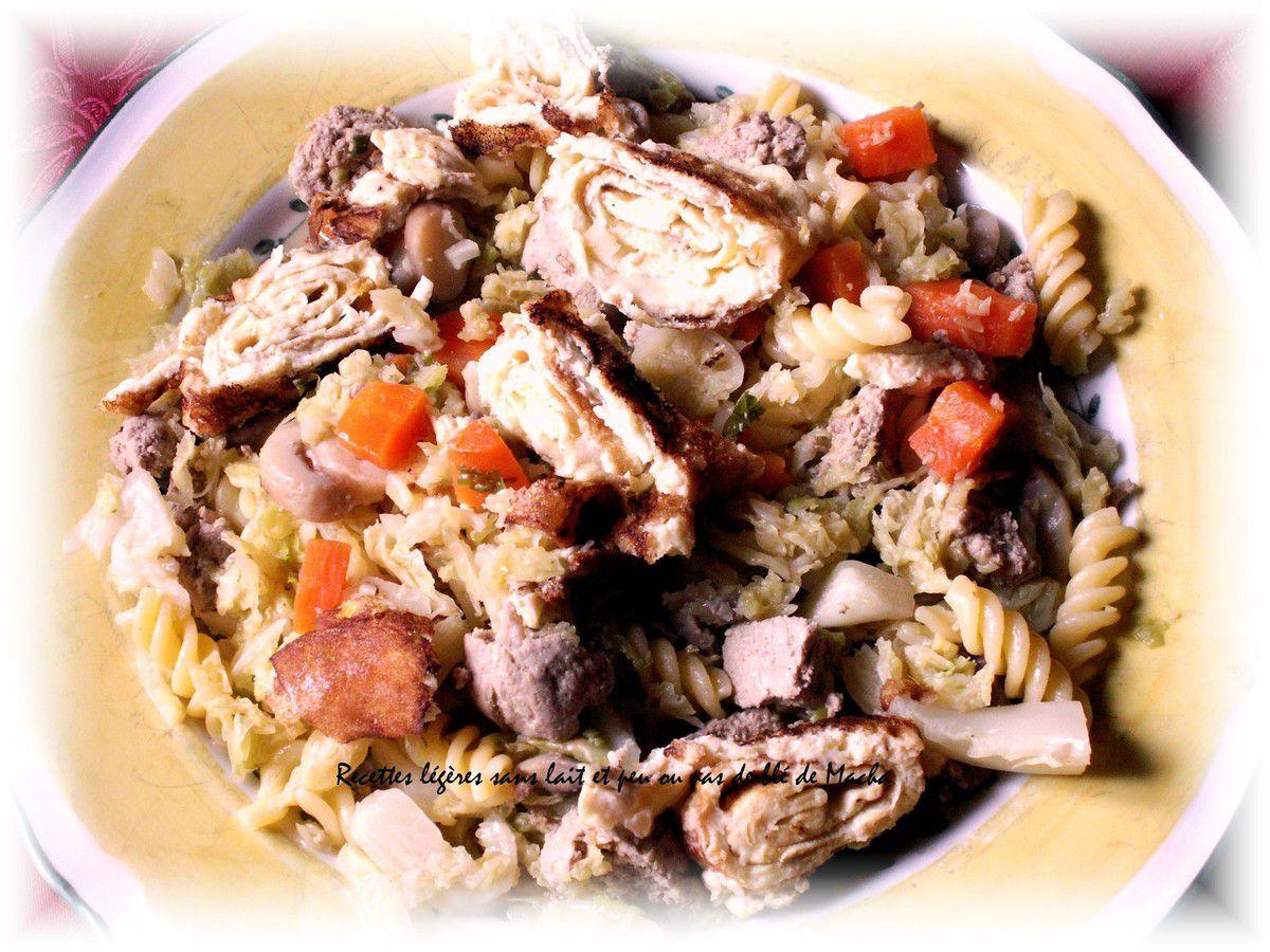 Soupe au choux ,fusillis ,champignons,carottes , filet mignon