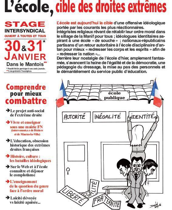 Stage 30 et 31 janvier 2017 à Mantes : l'école cible des droites extrêmes !