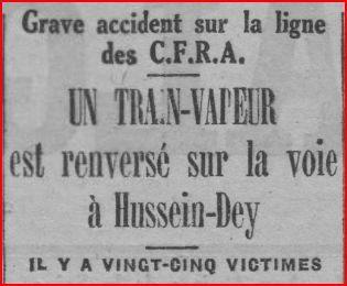 Déraillement de train à Hussein-Dey le 16 janvier 1927.