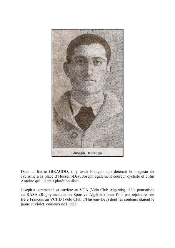 Joseph GIRAUDO un As du Vélo.