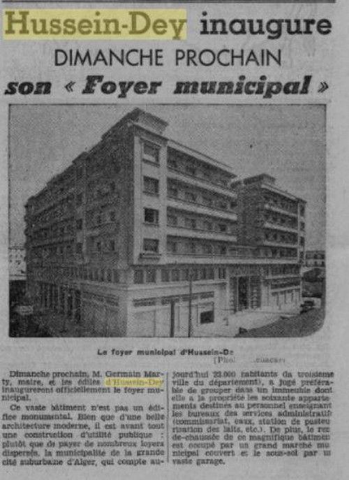 Hussein-Dey : Inauguration du Foyer Municipal.