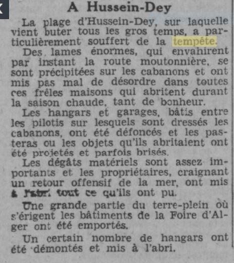 Février 1934 : Tempête sur Hussein-Dey.