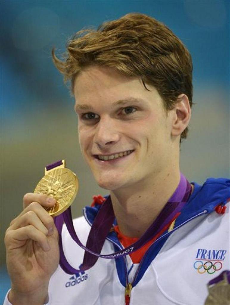Yannick Agnel, médaille d'or olympique du 200m nage libre ainsi que du relais 4x100m, en 2012, à Londres.