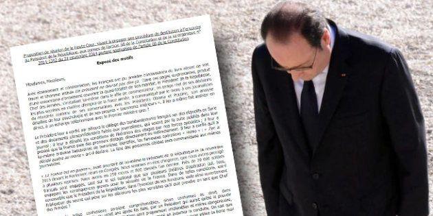 Le document qui circule à l'Assemblée pour une destitution de François Hollande