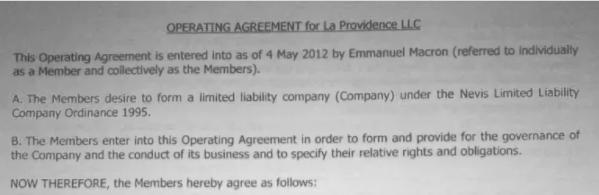 Capture d'écran du document montrant le nom de Macron sur le contrat d'exploitation de La Providence LLC