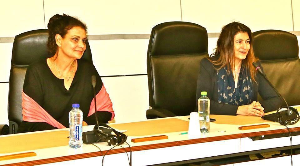 """Isabelle Balducchi et Eléonora Di Nicolantonio, presentation of the film """"Looking for the Stuart of Corsica"""" in the European hemicycle. March 20th 2017 Présentation du film """" A la recherche des Stuart de Corse"""""""