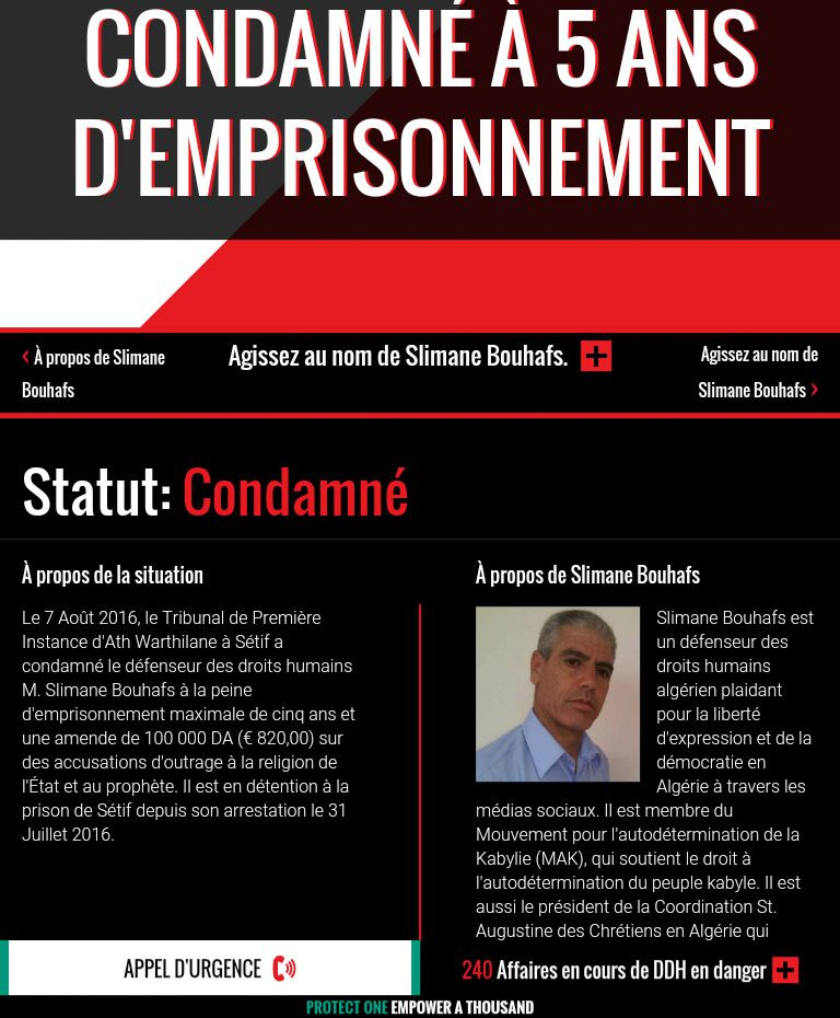 CONDAMNATION DE Mr SLIMANE BOUHAFS - Internationalisation de l'affaire par une ONG - Front Line defenders