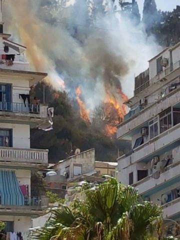ALGER - Un incendie à proximité de Makam Echahid - le Monument du Martyr