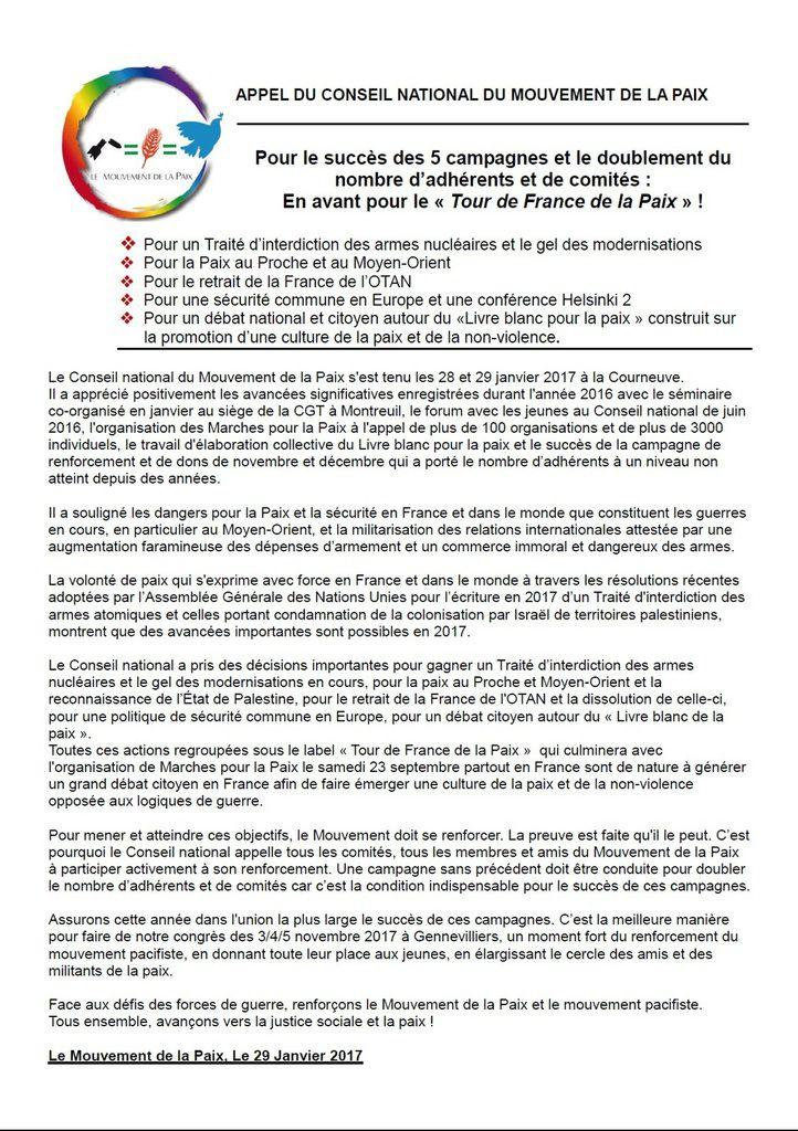 Appel du Conseil national du Mouvement de la Paix : Pour le succès des 5 campagnes et le doublement du nombre d'adhérents et de comités : En avant pour le « Tour de France de la Paix » .