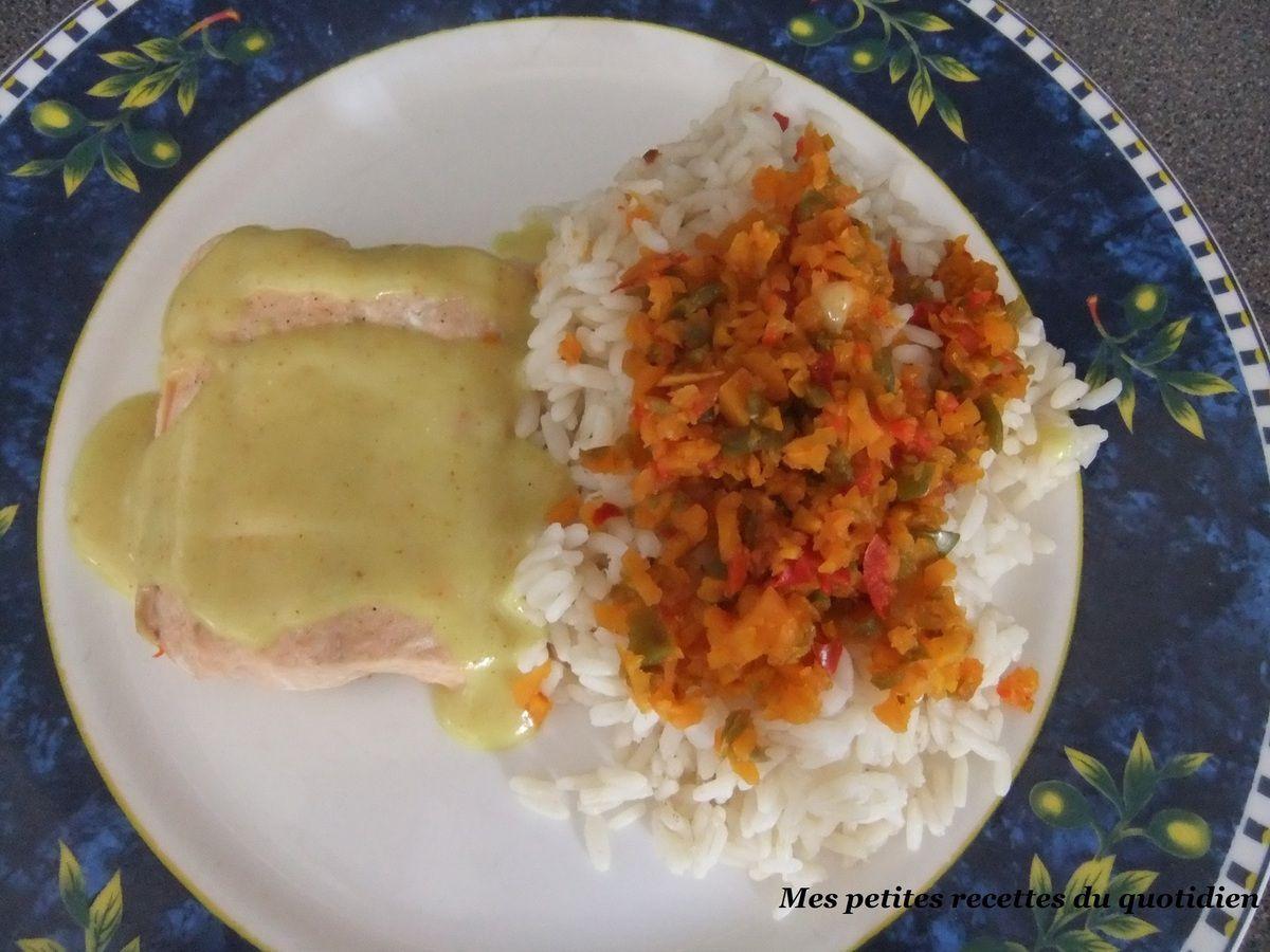 saumon légumes et riz sauce safran au thermomix