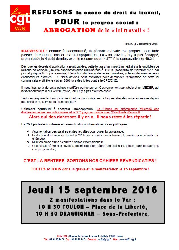 15 septembre 10h30 Toulon et Draguignan : REFUSONS la casse du droit du travail, POUR le progrès social : ABROGATION de la « loi travail » !