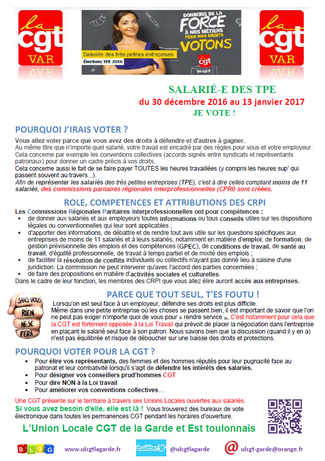 Tract Elections TPE 2016