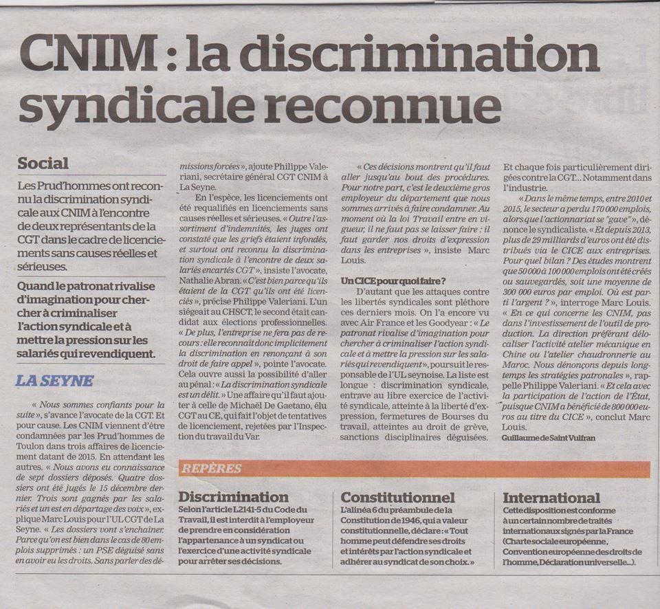 CNIM : La discrimination syndicale reconnue - La Marseillaise du 17 janvier 2017