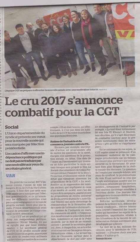 Le Cru 2017 s'annonce combatif pour La CGT - La Marseillaise du 21 janvier 2017