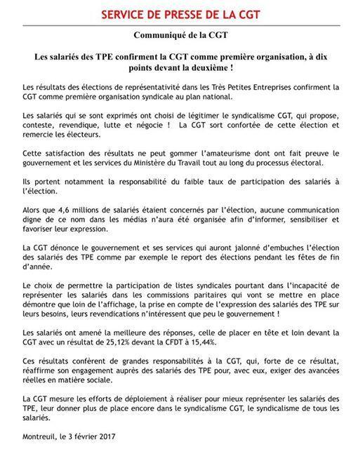 Les salariés des TPE confirment la CGT comme première organisation, à dix points devant la deuxième !
