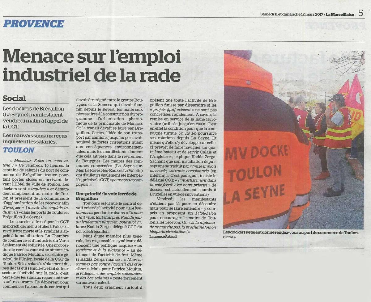 Article La Marseillaise du 11-12 mars 2017