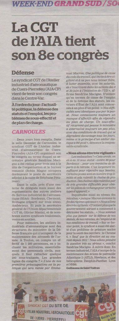 Article La Marseillaise du 04 juin 2017 - Congrès AIA CP