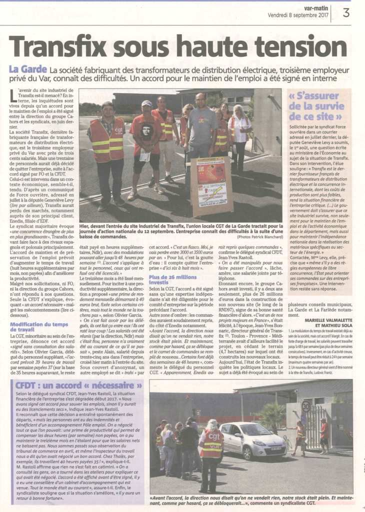 Article Var Matin du 08 septembre 2017