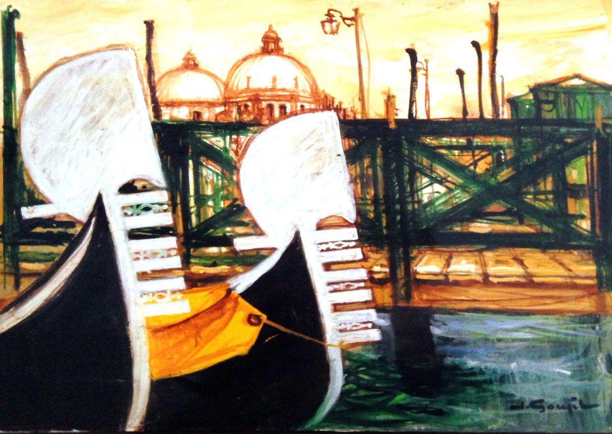 Venise au deux gondoles