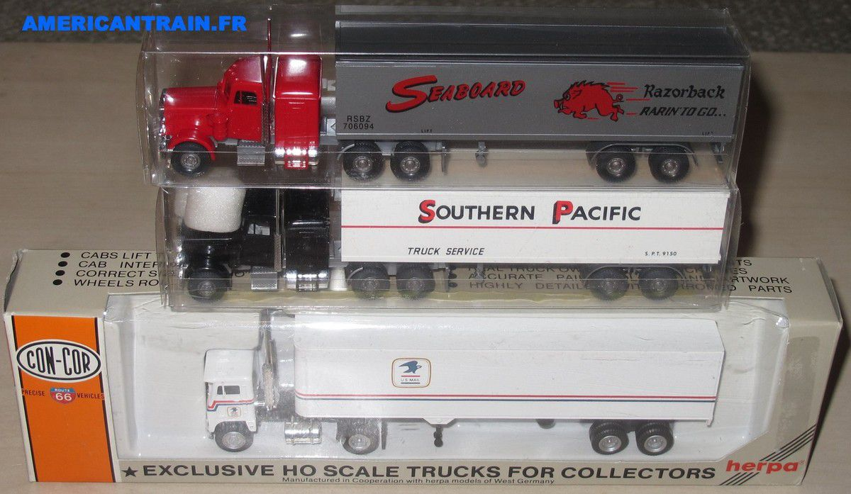 Trois camions semi-remorques Américains HO Américains HO 1/87 Herpa Wiking