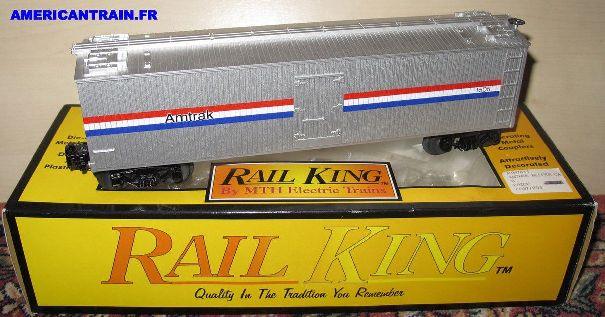 Wagon Reefer Car Amtrak 3 rails échelle O MTH