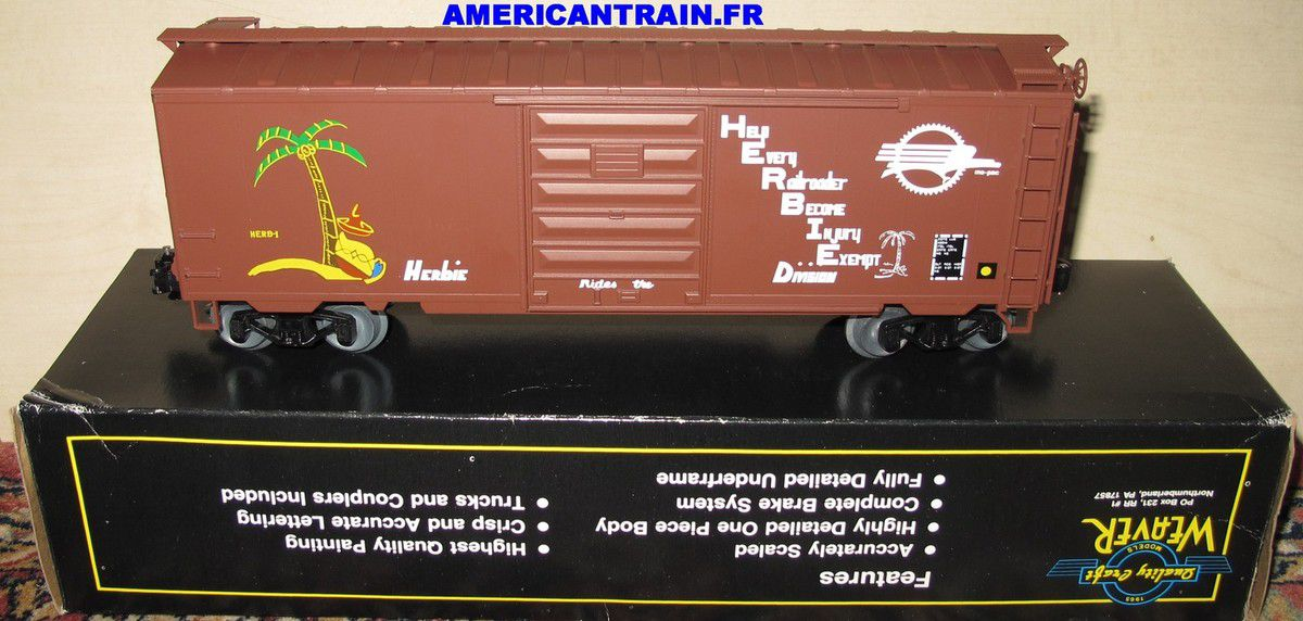 Wagon PS-1 40' Box Car MoPAC Herbie 3 rails échelle O Weaver