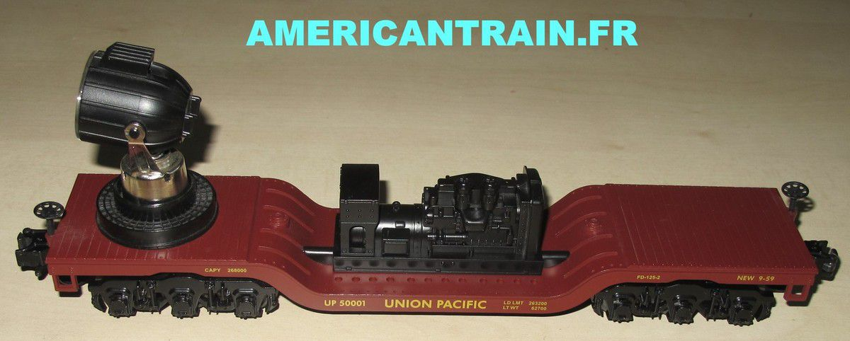 Wagon Operating Searchlight Car Union Pacific échelle O 3 rails MTH