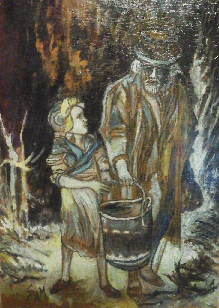 """Peinture sur bois gouache 32,5 cm x 23,5 cm Jean Valjean  et Cosette d 'après """"  Les Misérables """"  de Victor Hugo P"""